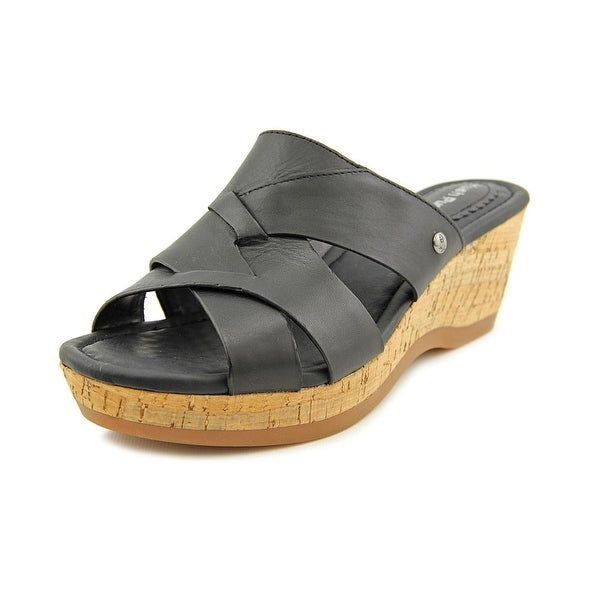 Hush Puppies Janae Farris Women  Open Toe Leather Black Wedge Sandal