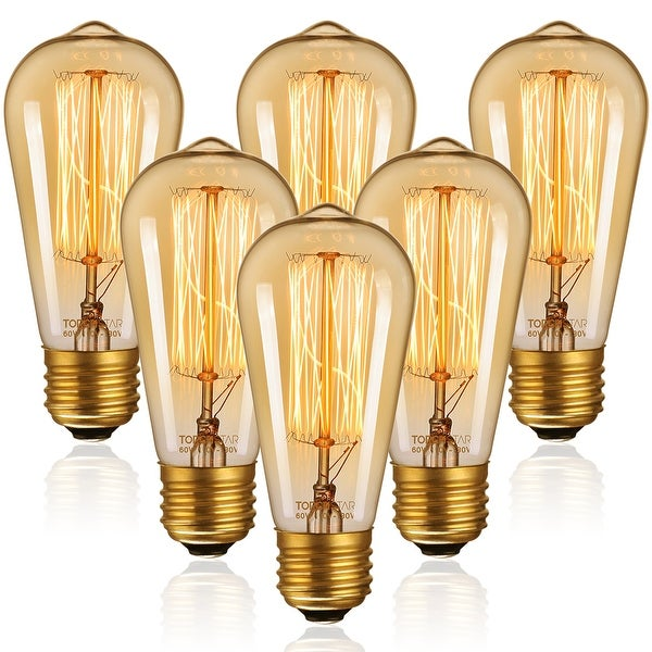 Vintage Edison Bulbs, 60W ST64 Filament Bulbs, Antique Squirrel Cage Tungsten, Dimmable, 2200K Amber Light, E26 Base. Opens flyout.