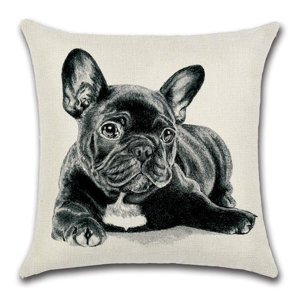 Cute Black French Bulldog Decorative Throw Pillow Cover 18 X 18 Overstock 31456217