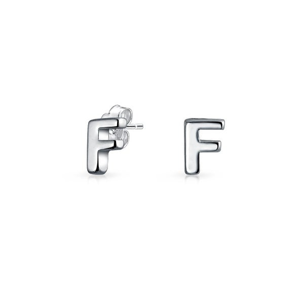 925 Sterling Silver Polished Initial Letter F Dangle Post Earrings