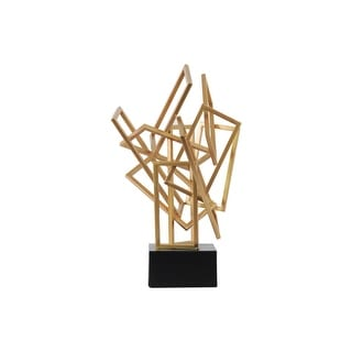 Metal Cascading Sculpture on Square Base, Coated Gold