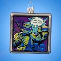"Pack of 6 Glass Teenage Mutant Ninja Turtles Comic Strip Square Christmas Ornaments 3"" - silver"