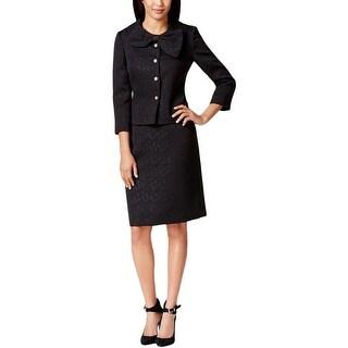 Tahari ASL Womens Salli Skirt Suit 4-Button Bow-Front