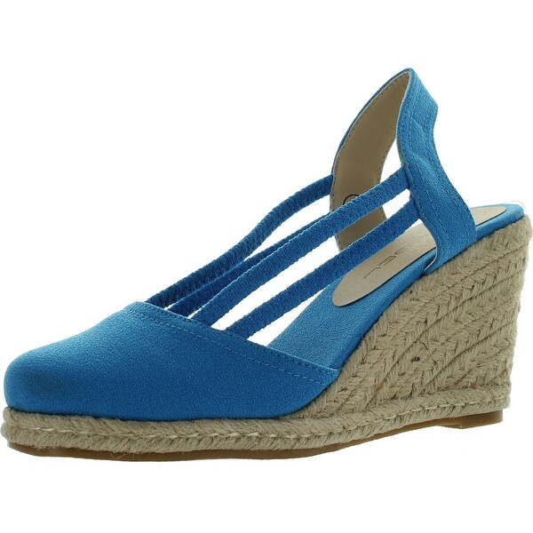 C Label Rollin-5 Womens Espadrille Elastic Sling Back Wedge Sandals - Blue
