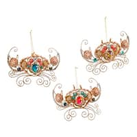 Jeweled Glittery Crabs Wire Christmas Holiday Ornaments Set of 3