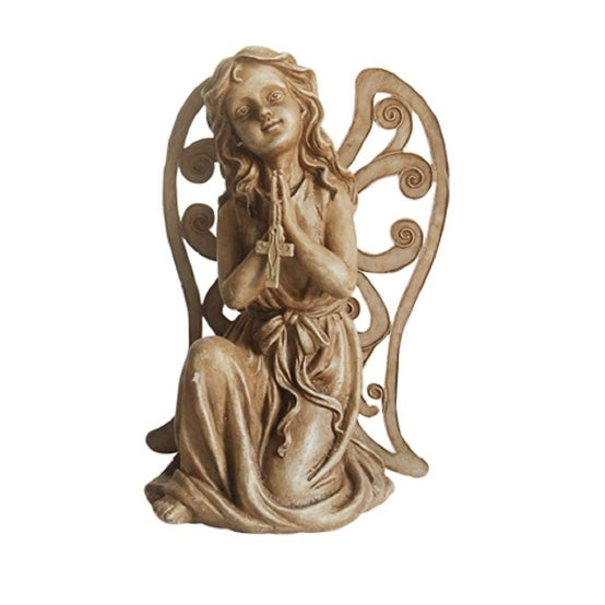 "14.5"" Inspirational Kneeling Angel with Cross Outdoor Patio Garden Statue"