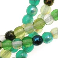 Czech Glass Druk 4mm Round 'Ever Green Color Mix' (100 Beads)