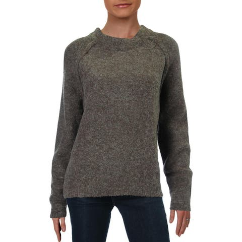 Willow & Clay Womens Sweater Marled Ribbed Trim - Mocha