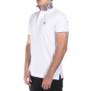 Just Cavalli Men's Classic Fit Piquet Polo UnderCollar Feature White
