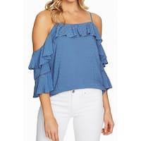 Cece Vista Blue Womens Size XL Cold Shoulder Ruffed Trim Blouse