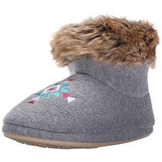 Kensie Womens Faux Fur Embroidered Bootie Slippers
