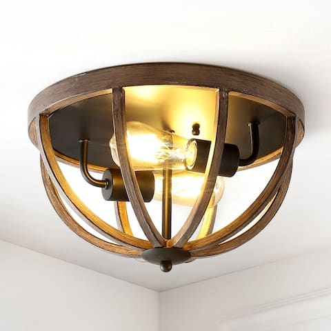 "Darlene 13"" 2-Light Iron Rustic LED Flush Mount, Brown by JONATHAN Y"