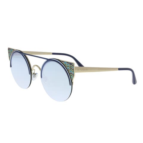 Bulgari BV6088 20206J Blue/ Pale Gold Cat eye Sunglasses - 54-20-150