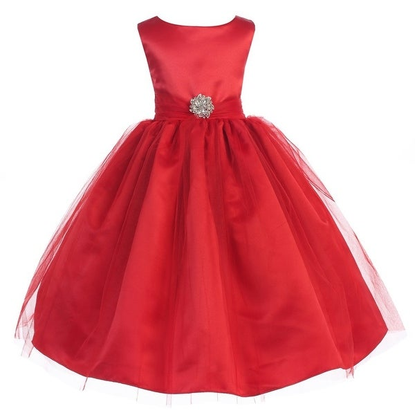 89290c95dc65e Shop Ellie Kids Little Girls Red Dull Satin Tulle Brooch Christmas Dress -  4 - Free Shipping On Orders Over $45 - Overstock - 23564694