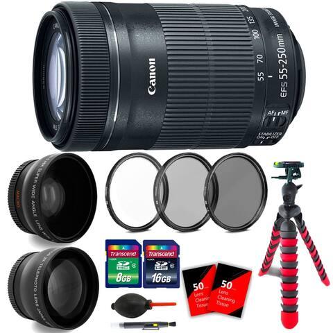 Canon EF-S 55-250mm f/4-5.6 IS STM Lens + Essential Bundle