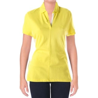 L-RL Lauren Active Womens Short Sleeves Colorblock Shirts & Tops