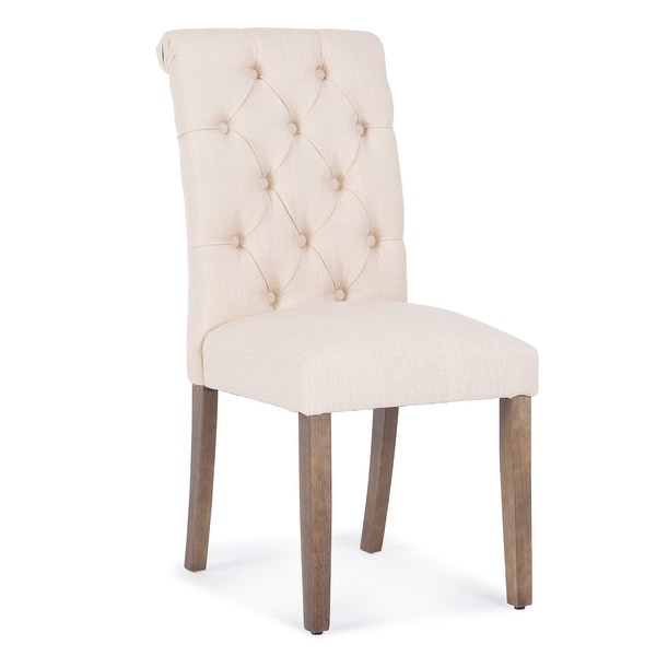 Beau Belleze Dining Chair Button Tuft Modern Parsons Side Padded Cushioned Seat  W/Solid Wood Legs
