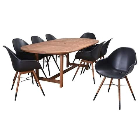 Amazonia Charlotte 9-Piece Outdoor Dining Set Patio Furniture Extendable Rectangular, Black
