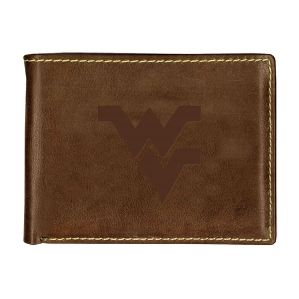 West Virginia University Contrast Stitch Bifold Leather Wallet