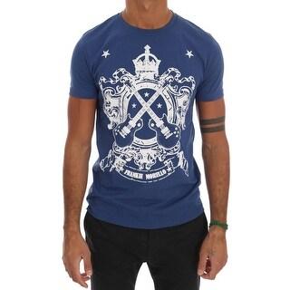 Frankie Morello Frankie Morello Blue Cotton Guitar Crewneck T-Shirt