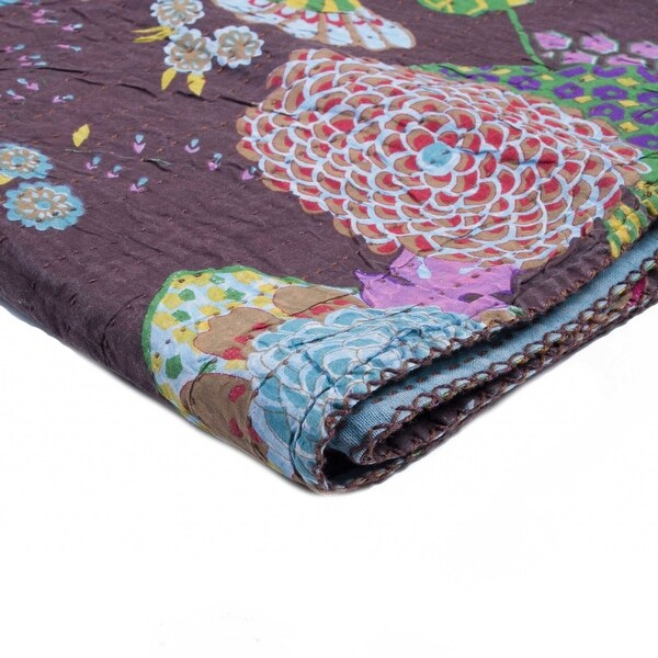 """50"""" x 70"""" Multicolored, Kantha Cotton - Throw. Opens flyout."""