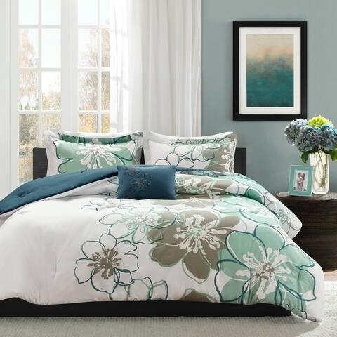 Skylar Blue/ Grey Printed Comforter Set by Mi Zone