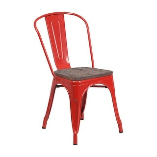 Offex Modern Rustic Metal Bistro Stackable Chair with Wood Seat - Red