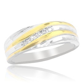 Mens Wedding Band Two Tone 0.15cttww Diamond 10K 7mm Wide Comfort Fit(0.15cttw)