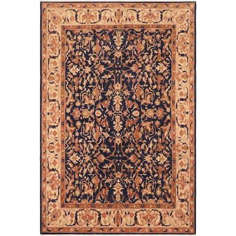 Semi Antique Low Pile Pandora Blue/Tan Hand knotted Rug - 8'3 x 10'1 - 8 ft. 3 in. X 10 ft. 1 in.