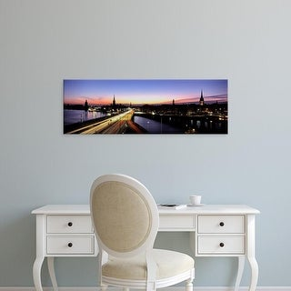 Easy Art Prints Panoramic Images's 'High angle view of traffic on a highway, Stockholm, Sweden' Premium Canvas Art