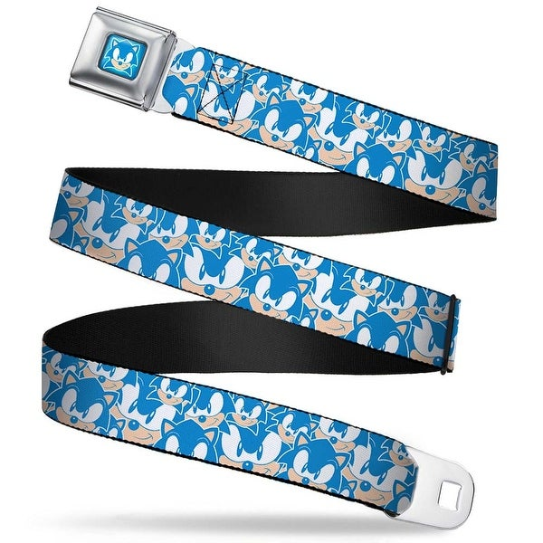 Sonic Classic Sonic Face Full Color Blues White Sonic Face Stacked Blues Seatbelt Belt