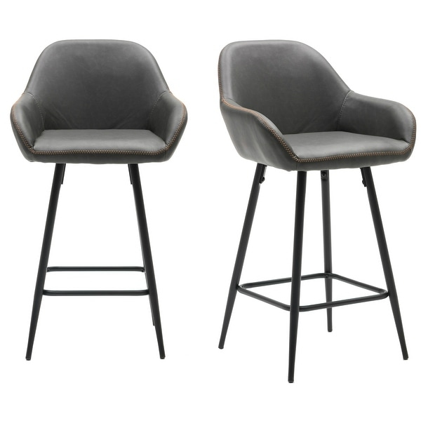 "25"" Bucket Upholstered Dark Accent Dining counter Barstool Chair Set OF 2. Opens flyout."