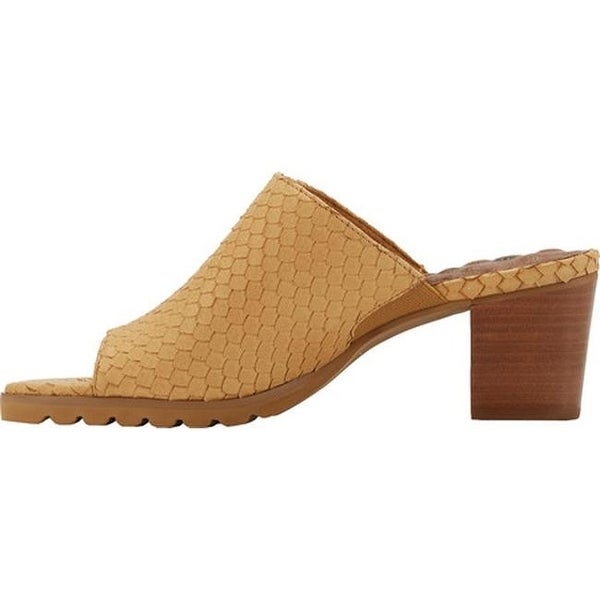 Walking Cradles Womens Nia Heeled Slide,Camel Snake Print Leather,US 6 W