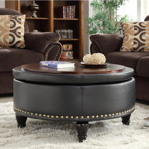 Copper Grove Payara Round Storage Ottoman with Flip Top Surface. Opens flyout.