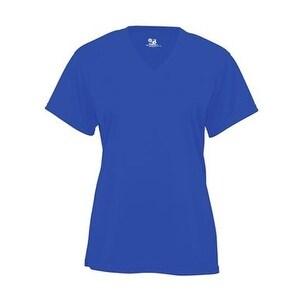 Badger B-Core Girl's V-Neck T-Shirt - Royal - S