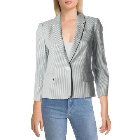 Tommy Hilfiger Womens Blazer Pinstripe Suit Separate - White