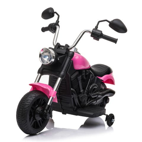 """Kids Electric Ride On Motorcycle With Training Wheels 6V Pink - 7'6"""" x 9'6"""" - 7'6"""" x 9'6"""""""