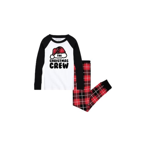 The Christmas Crew - Toddler Pajama Set - White/Black Buffalo Plaid - Red