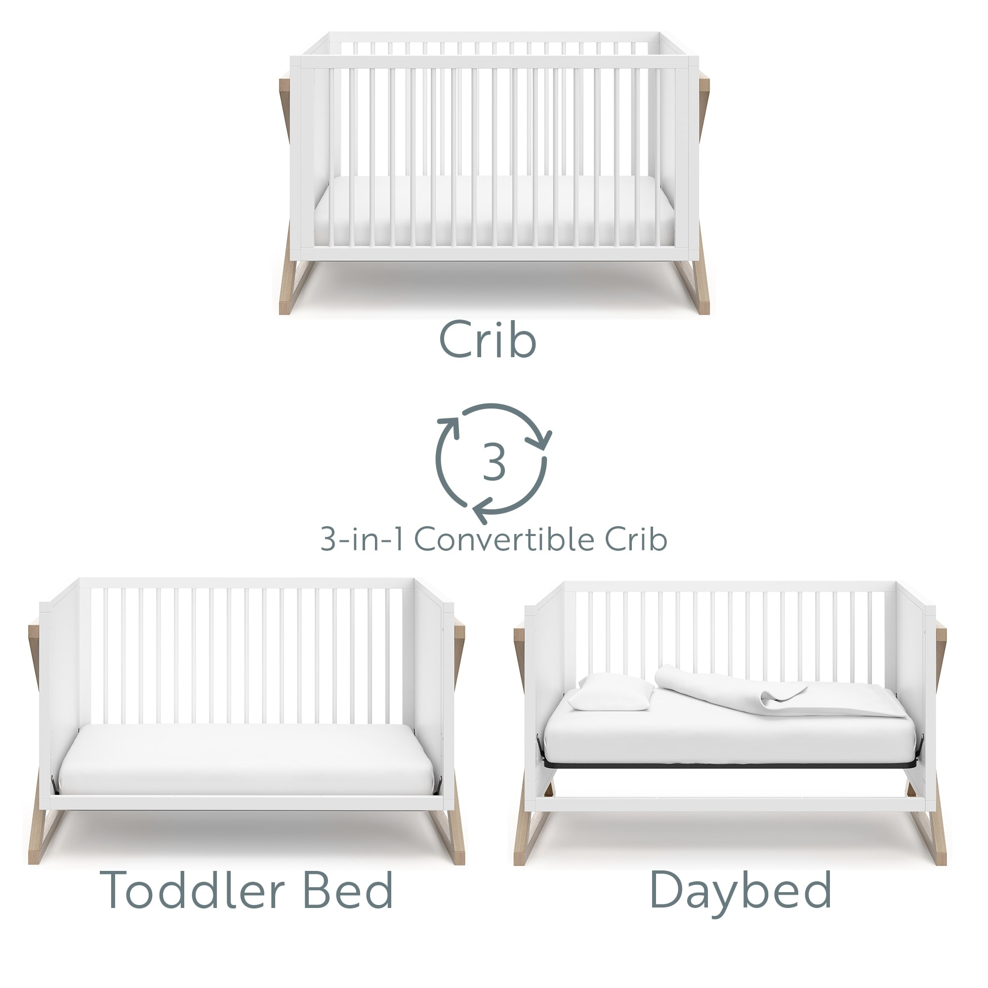 3-Position Adjustable Mattress Support Base Easily Converts to Toddler Bed /& Daybed White Modern Two-Tone Design for Contemporary Nursery Storkcraft Equinox 3-in-1 Convertible Crib