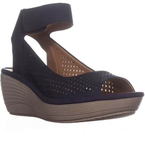 new product 2ab52 3a099 Shop Clarks Reedly Salene Comfrot Wedge Sandals, Navy - 8 us ...
