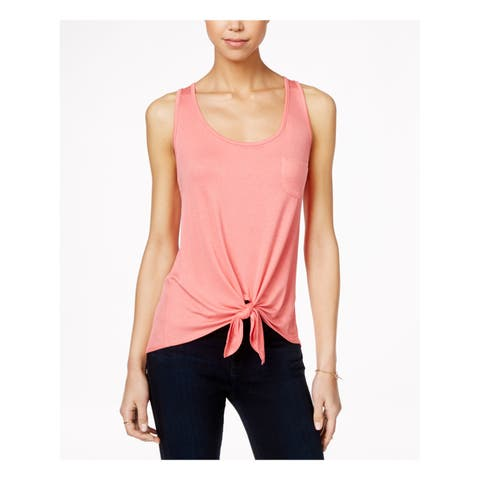 REBELLIOUS ONE Womens White Pocketed, Tie Sleeveless Jewel Neck Crop Top Size: L