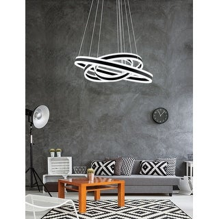 Link to Eglo Tonarella 3-Light Black LED Multi Ring Pendant with White Acrylic Similar Items in Pendant Lights