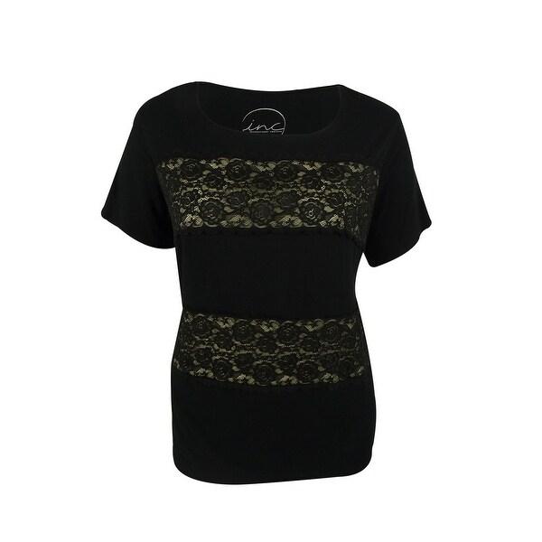 INC International Concepts Women's Lace-Stripe Top - Deep Black