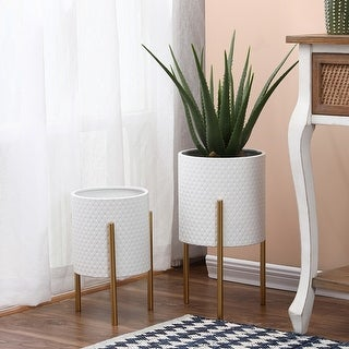 Link to 2-Piece White Round Metal Planters and Gold Stand Similar Items in Outdoor Decor