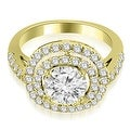 1.60 cttw. 14K Yellow Gold Double Halo Round Cut Diamond Engagement Ring - Thumbnail 0