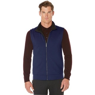 Perry Ellis Full Zip Textured Sweater Vest Dark Sapphire Blue XX-Large