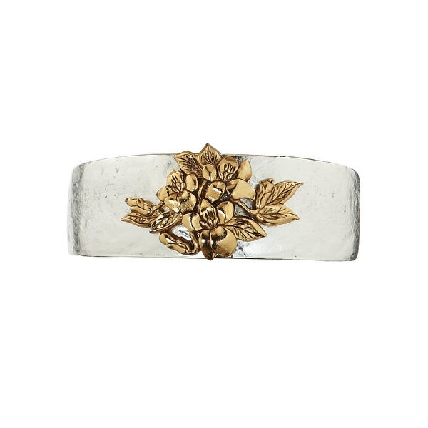 Women's Birth Month Flower Pewter Cuff Bracelet - February - Silver