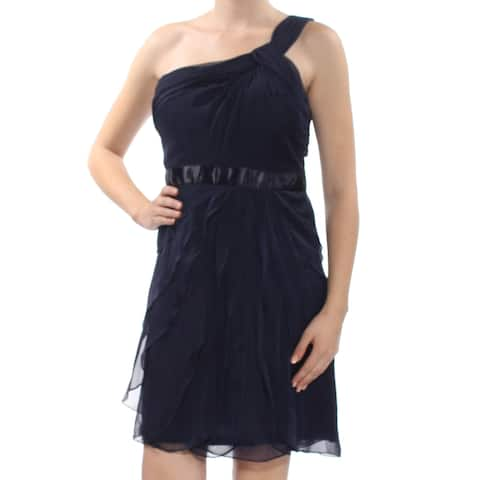 ADRIANNA PAPELL Womens Navy Ruffled Asymetrical Neckline Above The Knee Fit + Flare Party Dress Size: 10