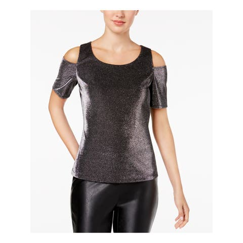 NINE WEST Womens Silver Cold Shoulder Metallic Short Sleeve Jewel Neck Party Top Size: S