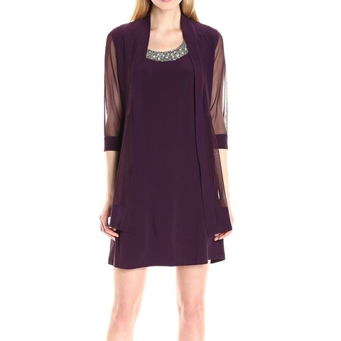 R&M Richards Purple Women's Size 8 Mesh Jacket Sheath Dress Set